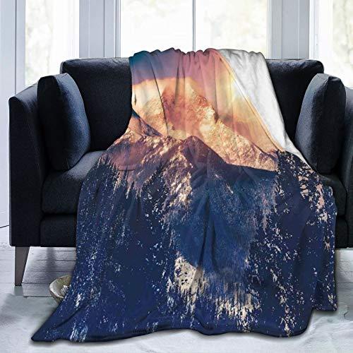 LASINSU Manta de Franela Suave,Montañas en Coloradao Bright Sun Snowy Hill,Cama de Camping para sofá 153x127cm