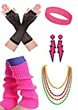 malishow 80s Neon Leg Warmers Earrings Headband Fishnet Gloves Necklace 80's Outfit Costume Accessories for Women Hot Pink (M01)