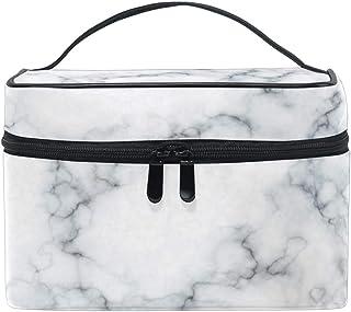 Qilmy Marble White Makeup Train Case Travel Cosmetic Brush Bag Toiletry Organizer for Women Girls