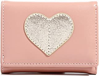 Pusaman New Women's Leather Wallet, Short Paragraph Folded Student Handbags (Color : Pink, Size : 10.5 * 2.5 * 8cm)