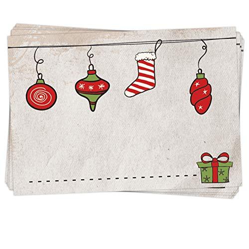 25 Stück Aufkleber Etikett FROHE WEIHNACHTEN Geschenkaufkleber rot natur grün 7 x 5 cm Namensschilder Namensaufkleber Geschenke Verpackung weihnachtliche Sticker selbstklebend
