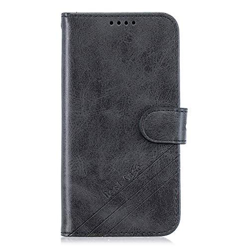 ZIHX010921 - Funda de piel sintética tipo cartera para Moto E6 Play (piel sintética, con tarjetero), color negro