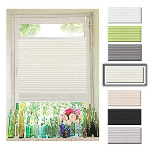 Atlaz Easyfix Plissee Rollo Raffrollo ohne Bohren Klemmfix für Fenster 90x130cm (BxH) Beige Plisseerollo Jalousie Sonnenschutzrollo Fensterrollo mitKlemmträger für Fenster und Tür