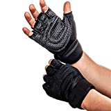 Fitness Guru - Weight Lifting Gloves with Built-in Wrist Wraps, Full Palm Protection