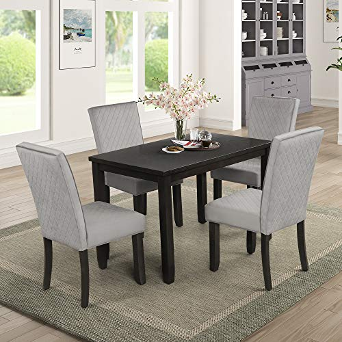 Dining Table Set for 4, Dining Room Furniture Set Kitchen Table Set Upholstered Dining Table & Chairs