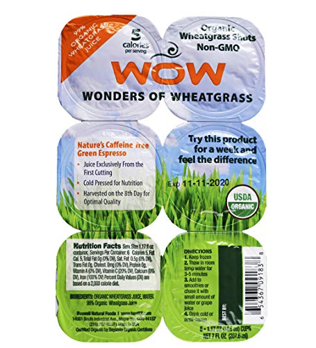 WOW Frozen Wheatgrass Juice - ONLY $1.67 per Oz (84 Fl Oz)- Organic Certified- unpasteurized- Alkaline - No Powder- No Sugar or Stevia added, FREE shipping! Grown and Packaged in USA