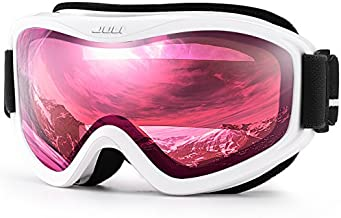 Juli Ski Goggle/Snow Snowboard Goggles for Men, Women & Youth - 100% UV Protection Anti-Fog Dual Lens(White Frame+38% VLT Vermillion Red Len)