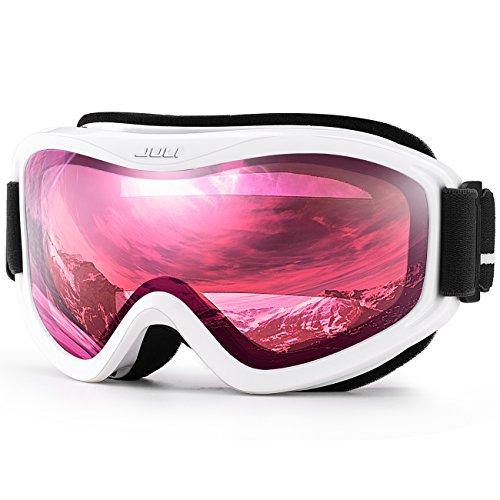 Juli Ski Goggle/Snow Snowboard Goggles for Men Women amp Youth  100% UV Protection AntiFog Dual LensWhite Frame38% VLT Vermillion Red Len