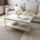Roomfitters White Marble Print Coffee Table with Gold Metal Legs, Living Room Tables