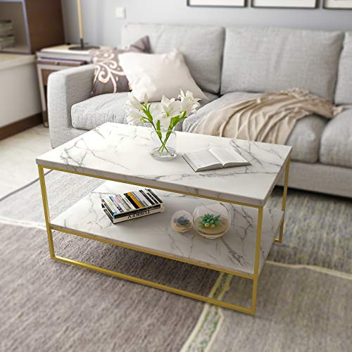 Marble Top Coffee Table with Gold Metal Frame