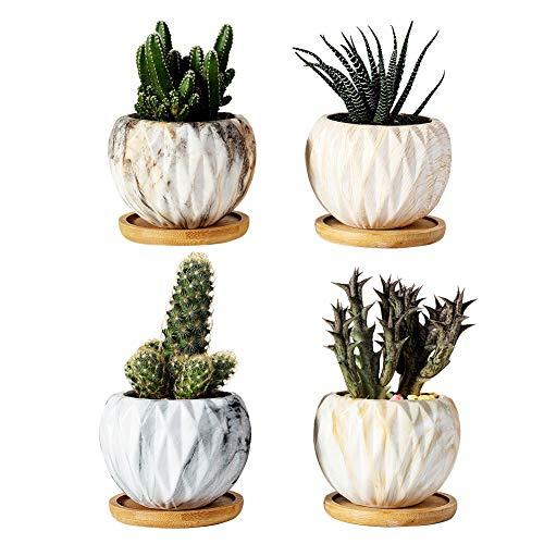 Mengxin 9.5CM Macetas Ceramica Pequeñas Textura de Mármol Mini Macetas para Cactus con Plato de Bambú Maceteros Suculentas para Hogar y Oficina Paquete de 4
