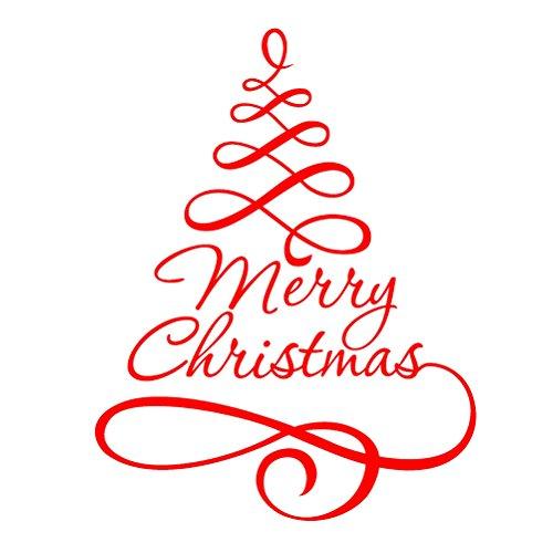 Adesivo albero di natale WINOMO Adesivi per vetrofanie vetrine finestre parete natalizi con frasi...