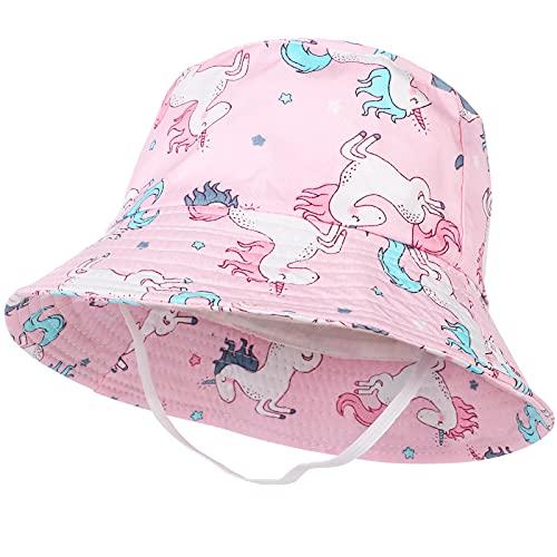 Tacobear Baby Sonnenhut Sommerhut Kinder Baumwolle Eimer Hut mit Breiter Krempe Sommer Sonnenschutz Strandhut Fischerhut für Kleinkinder Mädchen Jungen 1 2 3 4 5 Jahre (Rosa-Einhorn)