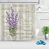 SYLZBHD Lila Blumenstoff Duschvorhang Lavendel Stempel Muster Vintage Badezimmer Gardinen mit Haken Home Badewanne Zubehör Waschbar W180xH180cm