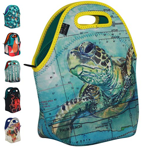 ARTOVIDA Reusable Insulated Neoprene Lunch Bag for Women and Kids for Work and School - By Carly Mejeur (USA) - A Portion of Profits go to The Loggerhead Marine Life Center in Florida - Sea Turtle
