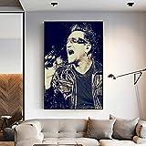 yuyu-beautiful Affiches Et Impressions Bono U2 Toile Affiche Mur Art Et Art Toile Peinture Impressions Mur Photo pour La Décoration De La Chambre 50X70 Cm sans Cadre
