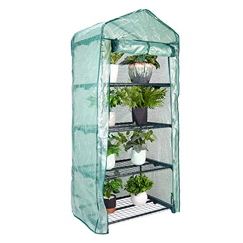 UNHO 4 Tier Mini Greenhouse, Plastic Mini Greenhouse with Frame and Cover Indoor Outdoor Tent Garden...