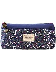 Cosanter Estuche de tela suave con diseño de flores pequeñas para maquillaje y gafas de maquillaje para niñas (azul oscuro)