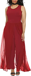 1dca43e486c Pink Queen Women s Plus Size Sleeveless Long Pants Jumpsuit with Chiffon  Overlay