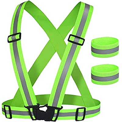 LINKEASE Reflective Vest Safety Gear High Visibility & Fully Adjustable with 2 Reflective Wristbands for Running Jogging Cycling Walking in Night (Green)
