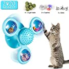 IDJWVU 2020 New Updated Windmill Cat Toy with Light Balls and Catnips Interactive Cat Toy with Suction Cup and Bells Portable Turntable Massage Scratch Hair Brush Funny Pet Toy