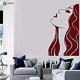 fancjj Tatuajes de Pared de Vinilo Salón de la Mujer Estilista de Pelo Etiqueta de La Pared Peluquería Decoración del Arte para la Sala de Estar Decoración Mural 42X70 cm