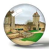 Hqiyaols Souvenir Blandy Francia Chateau de Blandy-Les-Tours Imán de Nevera de Recuerdo 3D Imanes de Nevera de Cristal de círculo de Regalo de Viaje