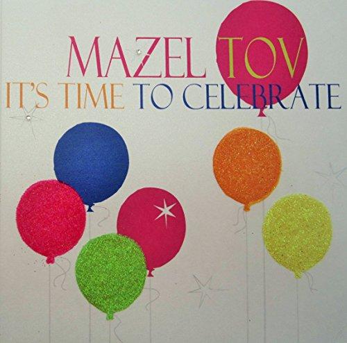 witte katoenen kaarten Tijd tot Celecrate, Handgemaakte Mazel Tov Kaart, Code N324 (Neon Ballonnen)