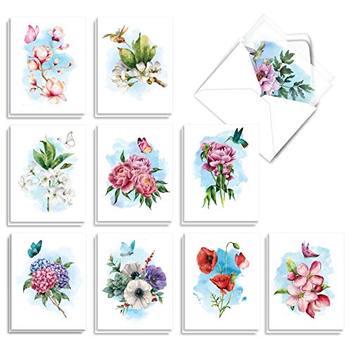 The Best Card Company - 20 Assorted Blank Plant Cards (4 x 5.12 Inch) (10 Designs, 2 Each) - Watercolor Floral Splendor AM7164OCB-B2x10