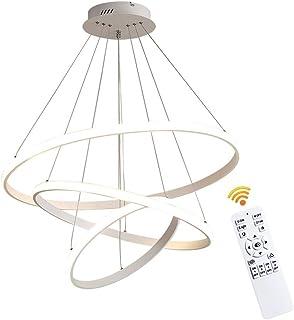 Lichtsse 90W LED Lámpara Comedor Techo Colgante Regulable Lámpara de Salón, Moderno Lámpara de Techo LED de 5850 Lúmenes RA>80 para Mesa de Comedor con Mando a Distáncia, acrílico, aluminio, Blanco