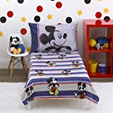Disney Mickey Mouse - Beyond Classic - 4 Piece Toddler Bed Set - Coral Fleece Toddler Blanket, Fitted Bottom Sheet, Flat Top Sheet, Standard Size Pillowcase