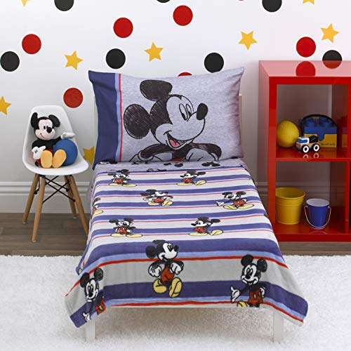 Disney Mickey Mouse - Beyond Classic - 4Piece Toddler Bed Set - Coral Fleece Toddler Blanket, Fitted Bottom Sheet, Flat Top Sheet, Standard Size Pillowcase, Blue, Red, Gray, Black