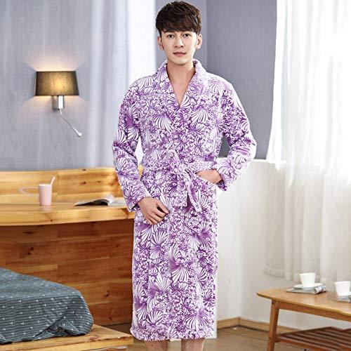 JBDGNZ Bata de baño Mujer, Vestido de Franela Bata para el hogar Ropa de Dormir Gruesa y cálida para el salón Linda Pareja de Amantes Ropa de Dormir para Hombres, Morado para Mujeres, M