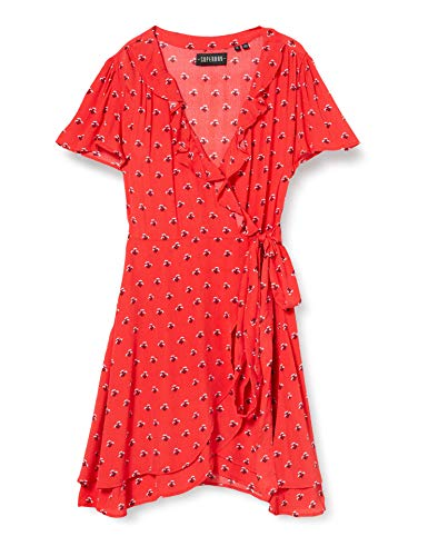 Superdry Summer Wrap Dress Vestido, Rojo (Red Ditsy 63l), L (Talla del Fabricante:14) para Mujer