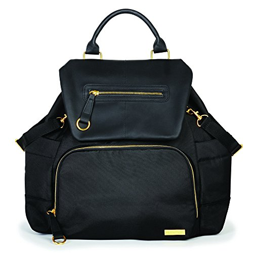 Skip Hop Diaper Bag Backpack: Chelsea Downtown Chic with Changing Pad & Stroller Attachment, Black