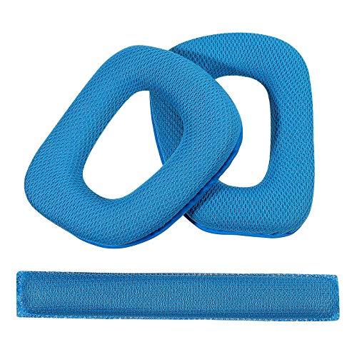 LEORX Recambio espuma suave oído almohadillas almohadillas y banda para la cabeza Cojín para auriculares G930 de Logitech G430 (azul)