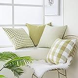Topfinel 4 Fodere per Cuscini in Tela 45x45cm Complementi Arredo Casa Vintage Verde Senape...