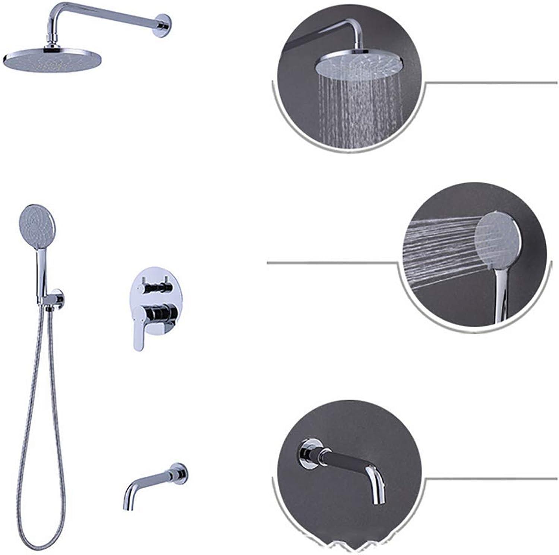 HS Thermostat Duschsystem,Duscharmatur Duschset Verstellbar Handbrause Regenbrause Duschstange
