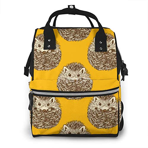UUwant Sac à Dos à Couches pour Maman Cute Hedgehog Diaper Bags Large Capacity Diaper Backpack Travel Nappy Bags Mummy Backpackling