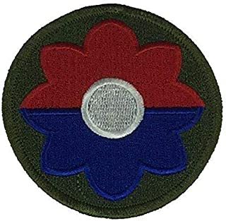 Embroidered Patch - Patches for Women Man - US Army 9TH ID Ninth Infantry Division Veteran Old RELIABLES Flower Power