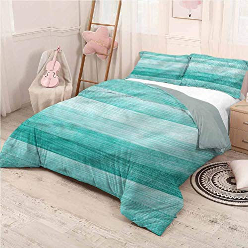Teal Bedding 3-Piece Full Bed Sheets Set, Washed Microfiber 3 Piece Bedding Sets Easter Holiday Theme Warm Bedding - Full 80'x90'