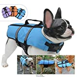 Lovelonglong Dog Lifejacket Life Jackets for English Bulldog Medium Dogs Swimming Safe Boating Coat Dog Swim Protect Reflective Vest Pet Life Preserver Blue L-M