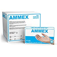 Case of 1000 Ammex Medical Clear Vinyl Gloves
