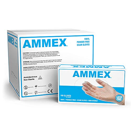 AMMEX Medical Clear Vinyl Gloves, Case of 1000, 4 mil, Size Large, Latex Free, Powder Free, Disposable, Non-Sterile, VPF66100