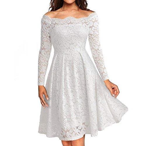 OVERDOSE Damen Frauen Vintage Schulterfrei Spitze Formale Rockabilly Abend Party Kleid Langarm Kleider (A-White,EU-40/CN-M)