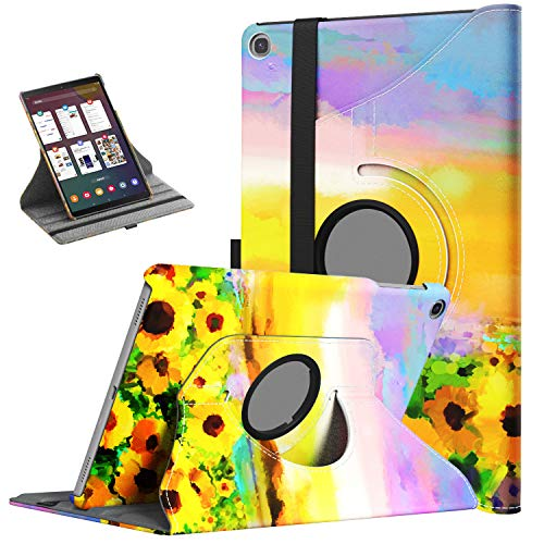 TiMOVO Case for Samsung Galaxy Tab A 10.1 2019 (T510/T515),Ultra Lightweight Slim Shell 360 Degree Rotating Swivel Stand Cover Fit Galaxy Tab A 10.1 2019 Tablet - Sunflower