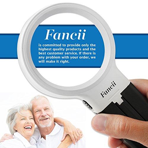 Fancii 10 LED Licht Beleuchtete Lupe mit Ständer, 2X 4X Große Leselupe Tischlupe Vergrößerungsglas mit Beleuchtung für Senioren Lesen, Inspektion, Löten, Handarbeiten, Reparatur & Hobby - 8