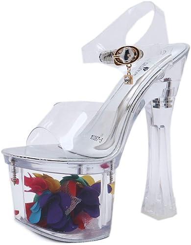 Lxmhz Plate-Forme Sandale Stiletto Croix Sangle Haute Talons Transparent Fleur Cheville Sangle Open Toe pour Les Clubs de soirée de Mariage Chaussures