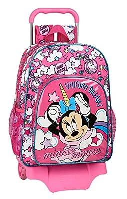 safta 612012160 Mochila Escolar Grande con Carro de Minnie Mouse, Rosa, Único