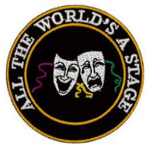 All The World's a Stage (Comedy & Tragedy) Embroidered Patch 7cm Dia (2 3/4')